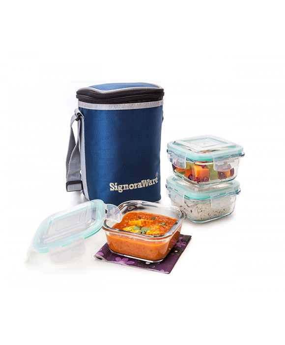 Signoraware Director Glass Lunch Box With Bag