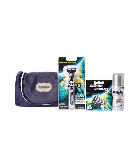 Gillette MACH3 -1 Razor 2 Cartridges 1 Shaving Gel with Pouch Limited Edition Travel Pack